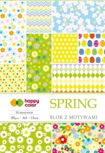 BLOK Z MOTYWAMI SPRING A4/15K 30MOTYW 80G HAPPY COLOR